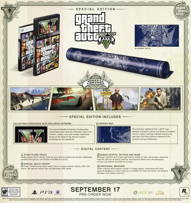 Grand Theft Auto V i special edition og collector's edition